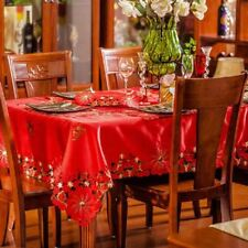 Red Color Floral Embroidered Square Shape Waterproof Home Decor Table Cloth