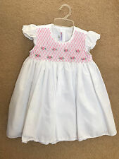 new hand smocked girls dress white & pink 2 year old