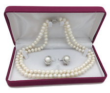Classic Pearl necklace set Genuine Freshwater Pearls gift