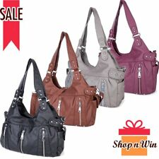 Elegant Women Ladies Leather Washed Handbag Shoulder Purse Messenger Hobo Bags