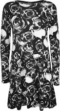 New Womens Plus Size Monochrome Skull Roses Print Long Sleeve Ladies Swing Dress