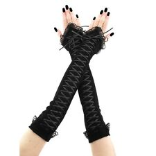 extra long fingerless gloves arm warmers fabric lace corset laced black 3675