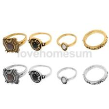 4pcs/Set Vintage Bohemian Rings Set Gemstone Finger Rings Midi Rings Jewelry