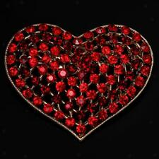Women Gold Plated Crystal Rhinestone Heart Brooch Pin Wedding Jewelry Gift