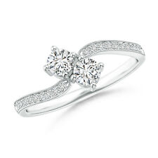 Vintage Style Natural Round Cut Diamond Bypass Ring 14k Gold/Platinum Size 3-13