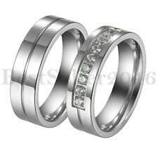 6MM Silver Stainless Steel Wedding Engagement Band Promise Ring For Mens Womens