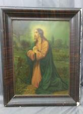 Antique Old Metal Lithograph Religious Print Tin Picture of Jesus Christ Framed