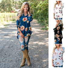 V Neck Floral Printed Blouse Fashion Women Casual Tops T Shirt Long Sleeve