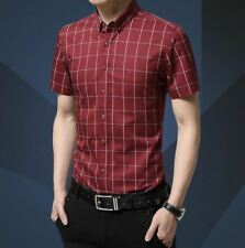 Red Color Casual Wear Plaid Pattern Slim Fit Short Sleeve Shirt For Men