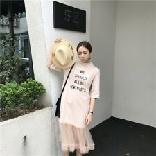 Women Spring Summer Round Collar Printing Stitching Lace Long style Dress