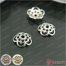 (26927)100PCS 10MM Antique Silver and Bronze Zinc Alloy For Round Beads Caps ...