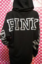 VICTORIA'S SECRET PINK BLING SEQUIN CAMPUS PULLOVER HOODIE BLACK  SOLD OUT!