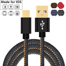 1/4/6FT Durable Denim Quick 2A Data Sync Charger Cable for iPhone 7 6s Plus 5 SE