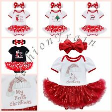 Toddler Baby Girls Xmas Romper Jumpsuit Tutu Dress Headband Clothes Outfits Set