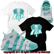 NEW CUSTOM TEE Nike Air More Uptempo matching T SHIRT UTP 1-9-10 ISLAND GREEN