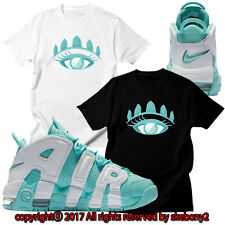 NEW CUSTOM TEE Nike Air More Uptempo matching T SHIRT UTP 1-9-11 ISLAND GREEN