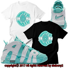 NEW CUSTOM TEE Nike Air More Uptempo matching T SHIRT UTP 1-9-17 ISLAND GREEN