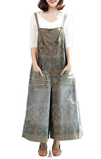 Women's Loose Cropped Floral Printed Wide Leg Jumpsuits Ethnic Rompers Pants