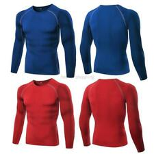 Mens Compression Base Layer Tight Long Sleeve Gym Running T Shirt Under Skin USA