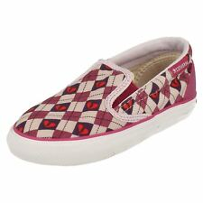 Girls Converse Pink/Purple Slip On Heart pattern Canvas INFT SKID GRIP EV