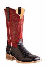 Outlaw Chocolate Mens Caiman Belly Print Leather Cowboy Western Boots