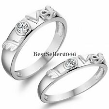 Silver Tone Cz Love Eternity Mens Womens Couples Wedding Engagement Band Ring