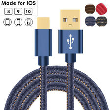 1.2/1.8M Denim Braided USB Cable Fast Charger for Apple iPhone 7 Plus 6s 5 iPad