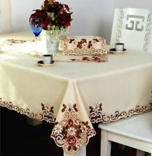Square Round Embroidery Dinner Desk Polyester Fabric For Table Cover