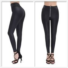 Sexy Womens Faux Leather Wetlook Stretchy Front Zipper Slim Leggings Pants S-2XL