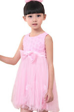Girls Dress Pink Rose Pageant Tull Wedding Kids Boutique Size 2-10 US Seller