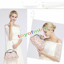 Fashion Women Antique Beaded Rose Evening Party Purse Clutch Handbag Bags