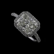 Cut Down Micropave Diamond Radiant Modern Platinum 950 Engagement Ring Mounting