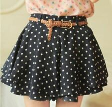 Women Fashion Dot Print Pattern Pleated Chiffon Material Short Skirt