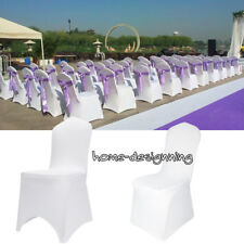 2-100pcs White Spandex Lycra Chair Covers Banquet Wedding Party Reception Event
