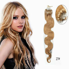 "16""-26''Body Wave Micro Ring Loop 100% Real Human Hair Extensions Wavy 100g"