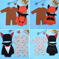 Halloween Cosplay Costume Infant Baby Boy Kid Hat+ Romper+ Bodysuit+ Bat Outfits