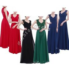 Cocktail Formal Party Women Evening Prom Gown Sleeveless V Neck Bridesmaid Dress