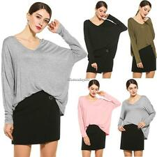 Women Casual Loose V-Neck Batwing Long Sleeve Solid T-Shirt Top C1MY