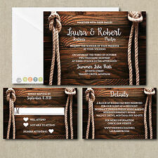 Personalized Wedding Invitations Rustic Rope Knot Invitations with Envelopes