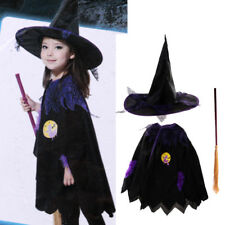 Kids Boy Girl Wizard Witch Cloak Cape Cone Hat Broom Halloween Costume Outfit