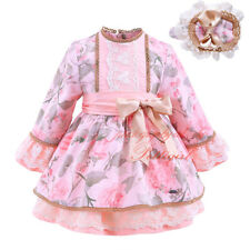 Baby Girl Flower Long Sleeve Princess Party Wedding Pageant Dress with Headband