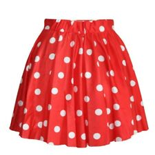 Women Polka Dot Puff Bust Pleated Skater Dots Ball Gown Short Mini Skirt