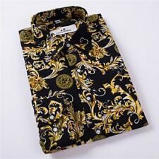 Men Golden Color Casual Turn-down New Fashion Collar Slim Fit Shirt Size M-4XL
