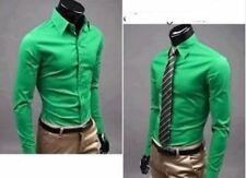 Men Light Green Color Style Single Breasted Long Sleeve Slim Casual Shirt