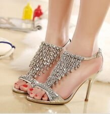Wedding Bridal Party Shoes Tiered Crystal Rhinestone Strap Ankle Strap