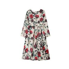 Fashion Long Sleeve O Neck Floral Printed A-line Loose Pleated Casual Dress