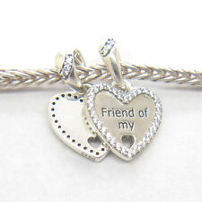 1 Pair Genuine s925 Sterling Silver Hearts of Friendship Dangle Charm, Clear CZ