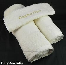 COLOURED EMBROIDERED PERSONALISED BATH HAND TOWELS & FACE CLOTH SETS 100% COTTON
