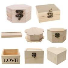 Wooden Unfinished Wood Box Jewelry Gift Boxes for Kids Toys Painting Woodcraft