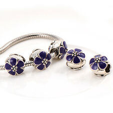 5pcs Silver Plated Flower Murano Glass Beads European Fit chain bracelet